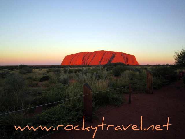 visiting Uluru at sunset
