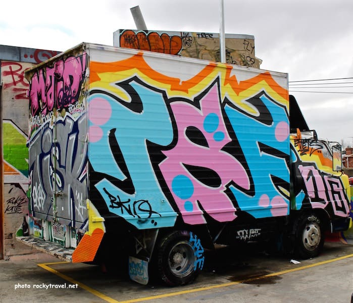 Graffiti van parking lot