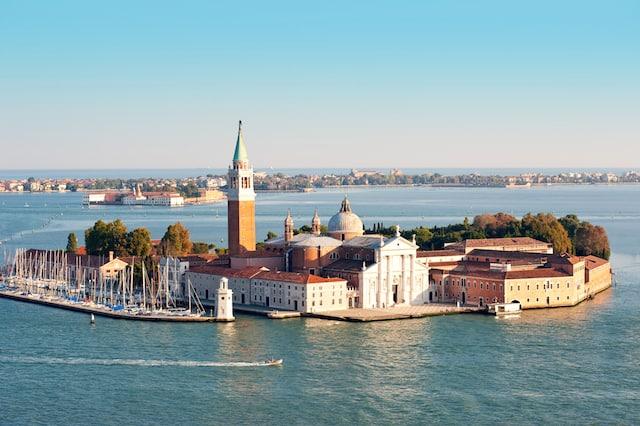 San Giorgio Maggiore island and Grand canal, aerial view Venice, Italy.