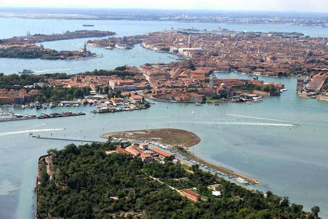 certosa Island venetian lagoon with Venice in the background