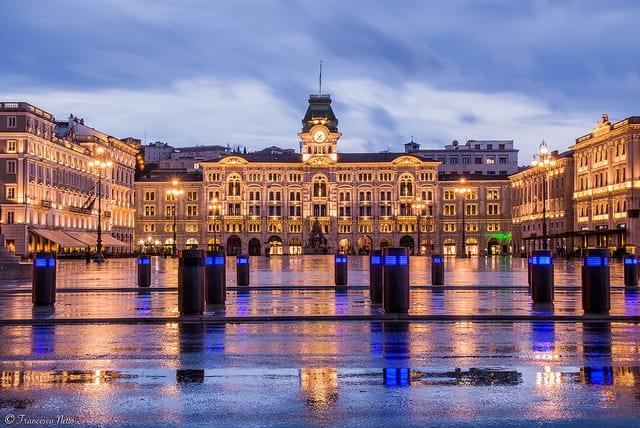Trieste with Piazza Unita d'Italia sunset
