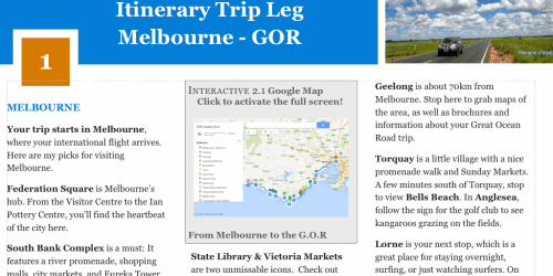 Inside the Book - Itinerary Trip Leg Melbourne