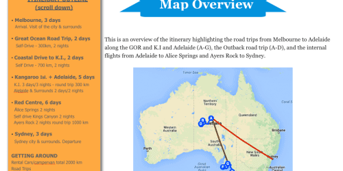 Map Overview Inside Your Australi Itinerary Book