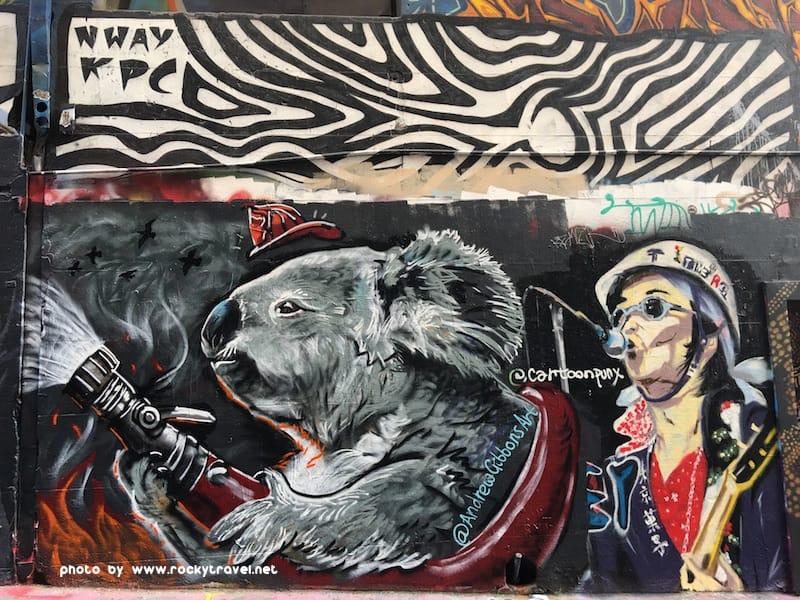 Bushfire Koalas Street Art in Melbourne